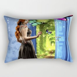 Red Head - Through The Door To Worlds Unknown Rectangular Pillow