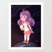 puppycat Art Prints featuring Bee and Puppycat by Steph Harrison