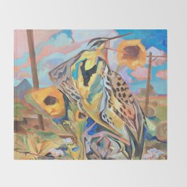 Meadowlark With Sunflowers Throw Blanket