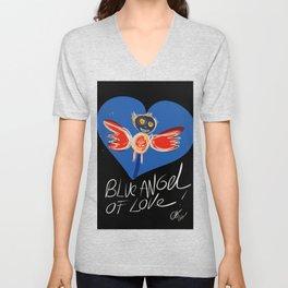 Blue Angel of Love Street Art Graffiti By Emmanuel Signorino © Unisex V-Neck