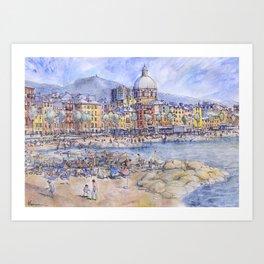 Panoramica del lungomare di Genova Pegli Art Print