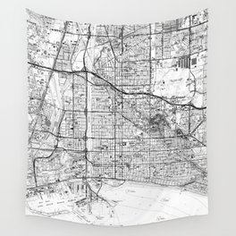 Vintage Map of Long Beach California (1964) BW Wall Tapestry