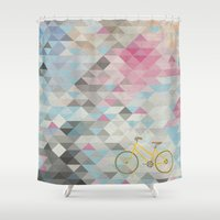 bicycles Shower Curtains featuring bicycles & triangles by sugi by saki