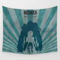 bioshock Wall Tapestries featuring Bioshock 2 - Delta and Eleanor by Art of Peach