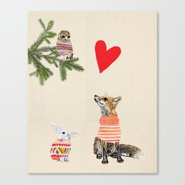 Fox and owl in love Canvas Print