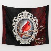 cardinal Wall Tapestries featuring Red cardinal  by Patrizia Ambrosini
