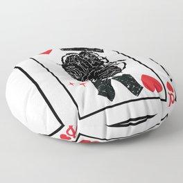 Black Queen Of Hearts Blackjack Cards Poker Couple Floor Pillow