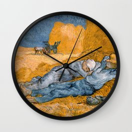 """Vincent van Gogh - Noon Rest From Work (A """"Copy"""" of a Jean-François Millet Work) Wall Clock"""