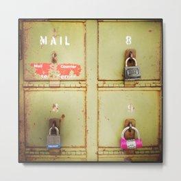 Green Locked Mailboxes Metal Print