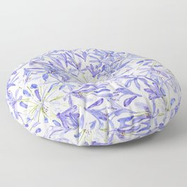 blue purple African lily watercolor painting Floor Pillow