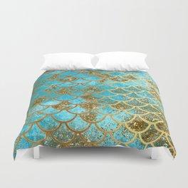 Aqua Teal & Gold Glitter MermaidScales - Mermaid Scales And Sea Foam Duvet Cover