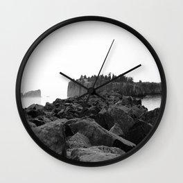 Foggy Harbor North Shore 2 BW Wall Clock