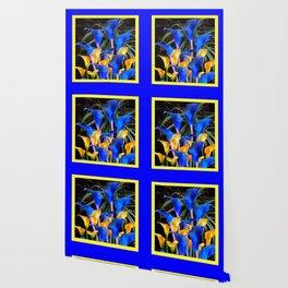 BLUE-BLACK MODERN ABSTRACT BLUE & GOLD CALLA LILIES Wallpaper