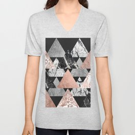 Marble Rose Gold Silver and Floral Geo Triangles Unisex V-Neck