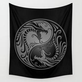 Gray and Black Yin Yang Dragons Wall Tapestry