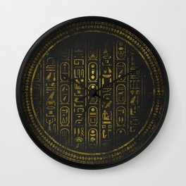 Grunge Egyptian Gold hieroglyphs on black paper Wall Clock