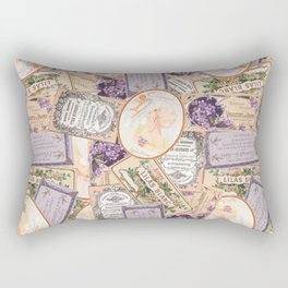 Vintage Labels in Purple + Peach Rectangular Pillow