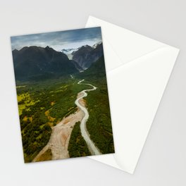 New Zealand - Flying through the Fox Glacier valley Stationery Cards