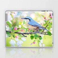 Blue Bird on a Twig in Spring Laptop & iPad Skin