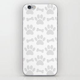 Paper Cut Dog Paws And Bones Pattern iPhone Skin