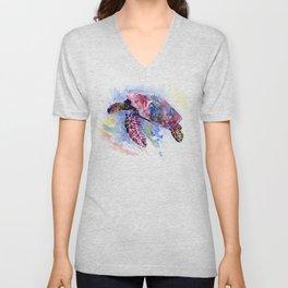 Sea Turtle , purple blue design, swimming sea turtle underwater beach scene Unisex V-Neck