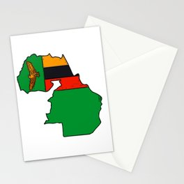 Zambia Map with Zambian Flag Stationery Cards