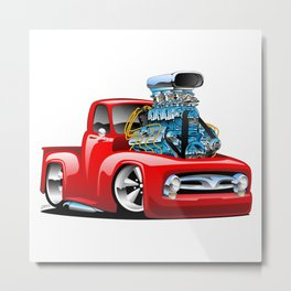 American Classic Hotrod Pickup Truck Cartoon Metal Print