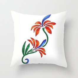 Orange Flowers 3 Throw Pillow