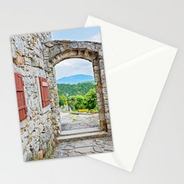 Town of Hum stone gate and street view Stationery Cards