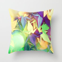 Senbazuru | purples n greens Throw Pillow