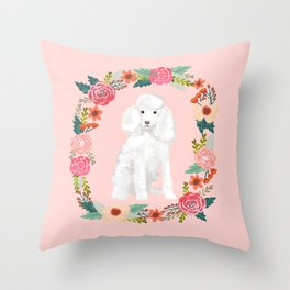 toy poodle floral wreath dog breed pure breed pet portrait Throw Pillow