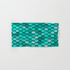 Aqua & mint mermaid glitter scales - Luxury mermaidscales Hand & Bath Towel