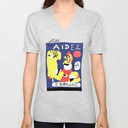 Joan Miro Help Spain, Aidez Espagne 1980 Artwork for Prints Posters Tshirts Bags Women Men and Kids Unisex V-Neck
