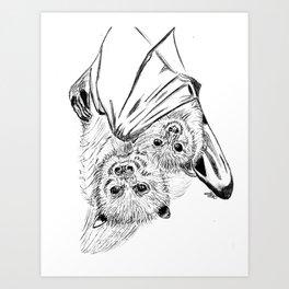 Bats, mom and child Art Print