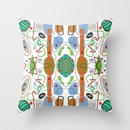 Multi Colored Line And Shape Abstract Pattern Throw Pillow