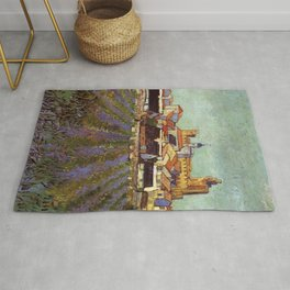 Lavender fields and View of Saintes-Maries by Vincent van Gogh Rug