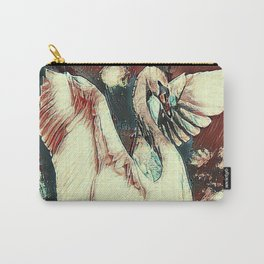 WHITE SWAN BROWNS & GREY  MODERN ART DESIGN Carry-All Pouch