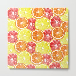 Grapefruit Lemon Orange Pattern Metal Print