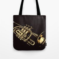 trumpet Tote Bags featuring trumpet by Ancello