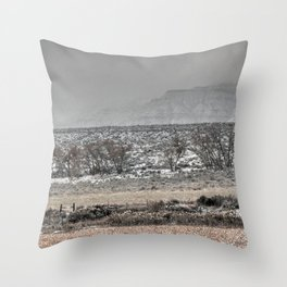 Misty Snow Throw Pillow