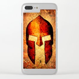 Spartan Helmet On Rust Background - Molon Labe Clear iPhone Case