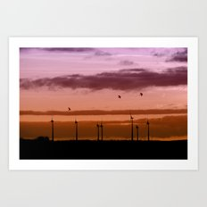 Wind power plant at dawn Art Print