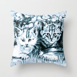 Blue Baby Cats Throw Pillow