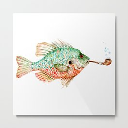 River Sunfish with a Pipe Metal Print