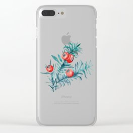 Watercolor Yew Berries Clear iPhone Case