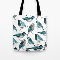 yetiland Tote Bags featuring pale green birds by Polkip