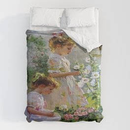 Beautiful Painting Of Two Girls Picking Flowers Comforters