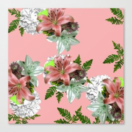 LILY PINK AND WHITE FLOWER Canvas Print
