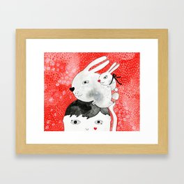 Bunnies on my head Framed Art Print