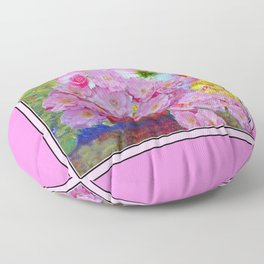 PINK AND MORE PINK ROSES RED VASE ART Floor Pillow